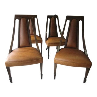 Mid-Century Leather Upholstered Maple Wood Chairs - Set of 4