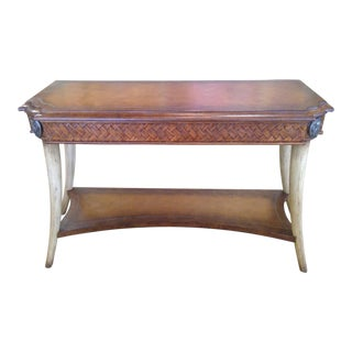Maitland-Smith Inspired Leather Top & Faux Tusk Legs Console Table
