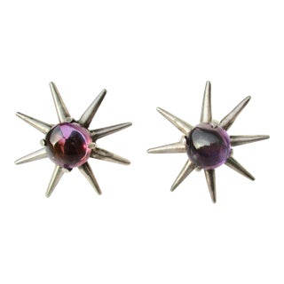 Mexican Silver Spurs and Amethyst Cabochon Earrings For Sale