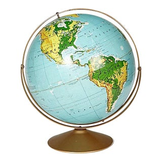 1960s World Globe on a Metal Stand For Sale