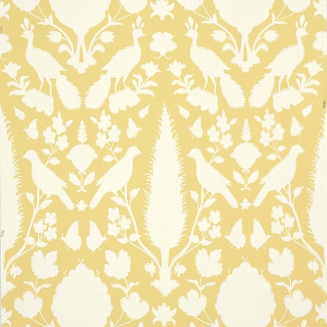 Contemporary Schumacher Chenonceau Damask Wallpaper In Buttercup Yellow