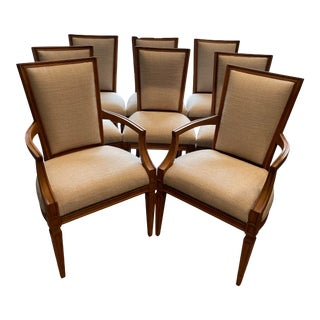 Set of 8 Traditional Louis Oak Dining Chairs For Sale