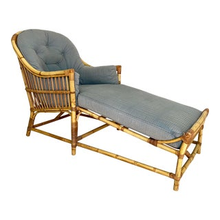 Vintage Rattan Chaise Lounge Chair For Sale