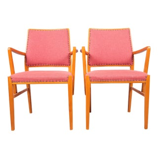 Mid-Century Beech Armchairs - a Pair