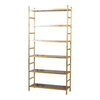Brass and Rosewood Veneer Academy Etagere For Sale