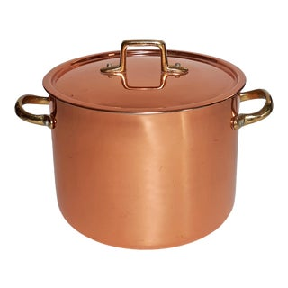 Vintage French Country Copper & Brass Pot With Lid For Sale