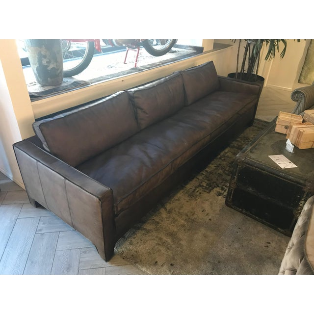 Animal Skin Large Leather Sofa For Sale - Image 7 of 7