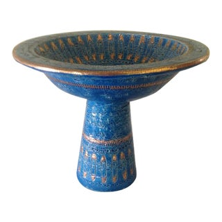 Bitossi Rimini Blue & Gold Safety Pins Footed Bowl For Sale