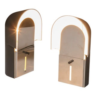 "Set of Two ""Pala"" Bedside Lamps by Corrado and Luigi Aroldi for Luci For Sale"