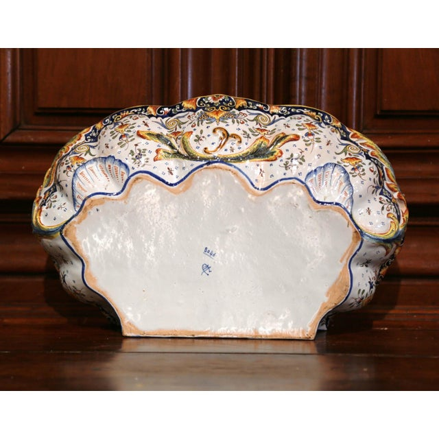 Metal Early 20th Century, French Hand-Painted Wall Faience Lavabo Fountain From Rouen For Sale - Image 7 of 9