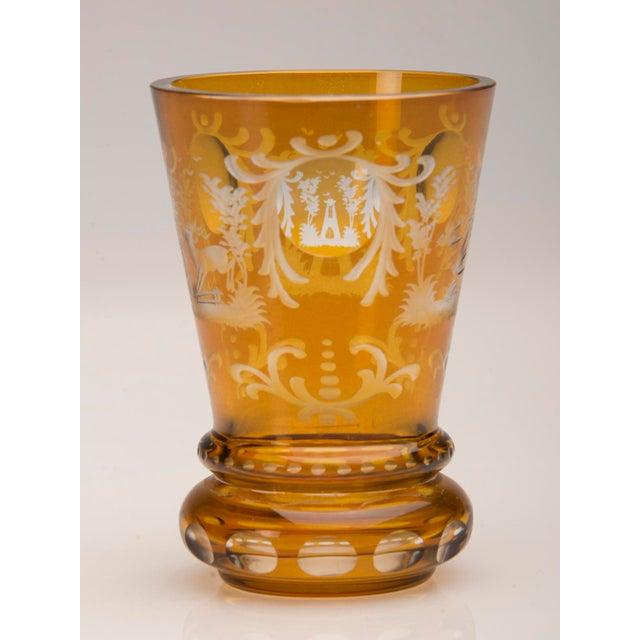 Vintage English Bohemian Cut Glass Amber Vase circa 1950 - Image 5 of 7