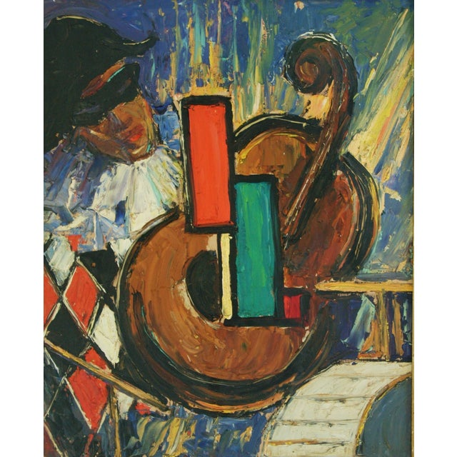 Mid-Century Harlequin & Cello Abstract Painting - Image 4 of 6