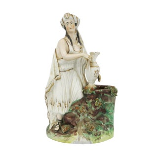 Mid 19th Century Vintage English Staffordshire Woman With Large Ewer Figurine For Sale