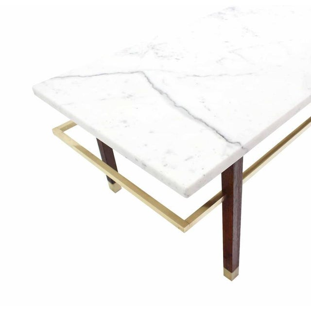 Harvey Probber Marble Top Rectangular Coffee Table w/ Brass Rectangular stretche For Sale In New York - Image 6 of 7