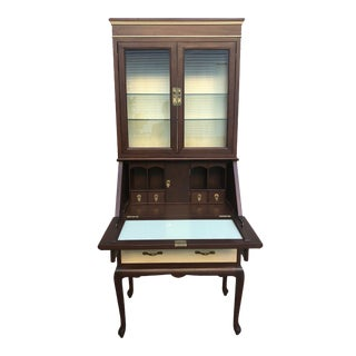 Late 20th Century Imported Two-Piece Illuminated Secretary Display Cabinet For Sale