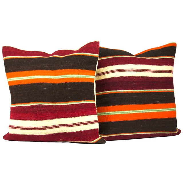 """Vibrant Striped 20"""" Overstuffed - A Pair - Image 2 of 4"""