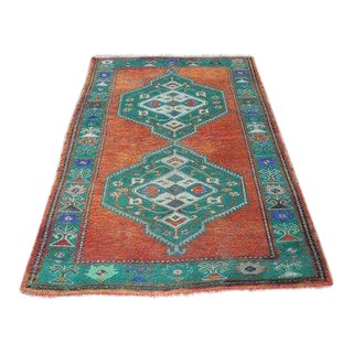 1960s Vintage Turkish Hand-Knotted Rug - 3′9″ × 5′10″ For Sale