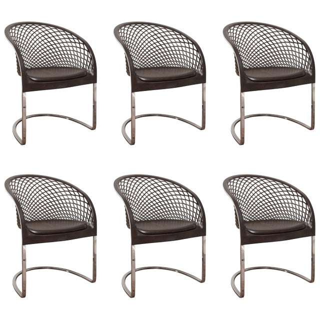 Set of Six Chrome and Leather Matteo Grassi Dining Chairs, 1970s For Sale - Image 9 of 9