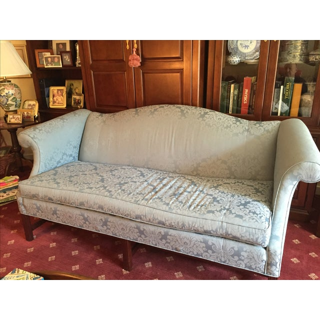 Traditional Style Blue Camelback Sofa/Settee - Image 4 of 4