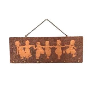 Antique Dutch Children Silhouette Pyrography Plaque For Sale