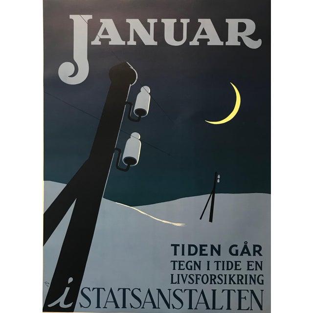 Paper 1951 Original Danish Poster, Januar (The Clock Is Ticking) For Sale - Image 7 of 8
