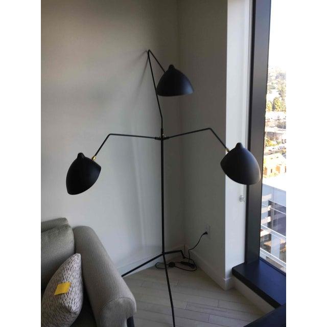 Black Three Light Floor Lamp For Sale - Image 4 of 4