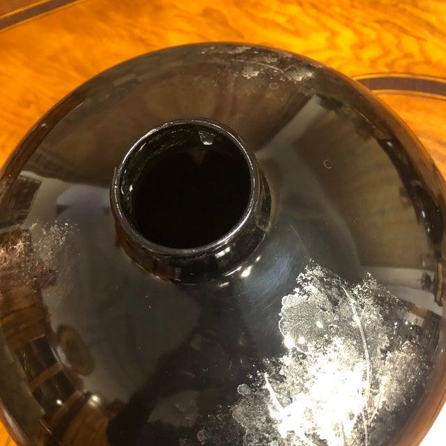 1990s Black Lacquered Ceramic Vase For Sale - Image 5 of 10
