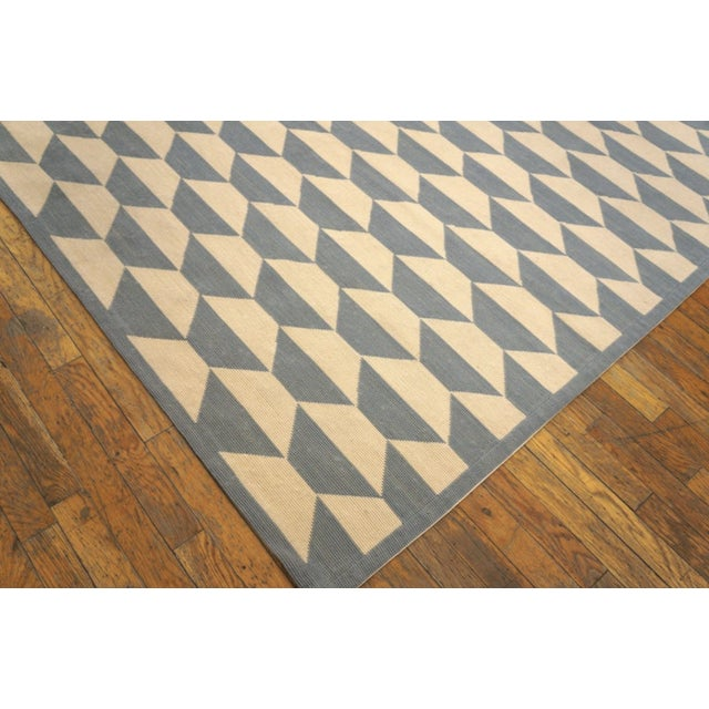 """Modern Needlepoint Wool Rug 9'0"""" X 12'0"""" For Sale In New York - Image 6 of 9"""