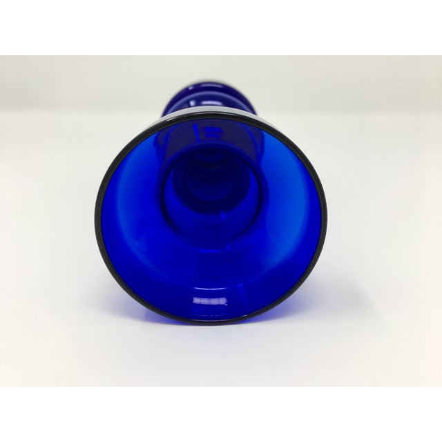 Glass Scandinavian Modern Cobalt Blue Vase For Sale - Image 7 of 9