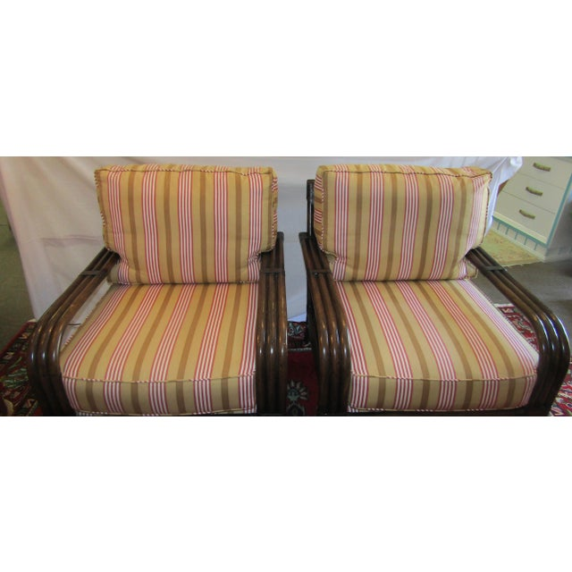 Pair of Pierce Martin Bamboo Accent Chairs & Pillows - Image 3 of 6