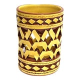 Image of Moroccan Handpainted Yellow Ceramic Tealight Cup Holder For Sale