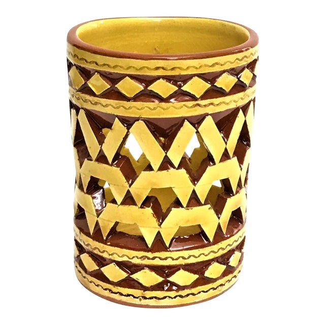 Moroccan Handpainted Yellow Ceramic Tealight Cup Holder For Sale