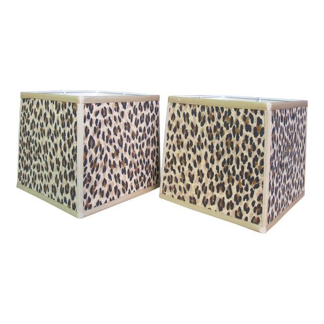 Custom Made Square Leopard Lampshades - A Pair For Sale