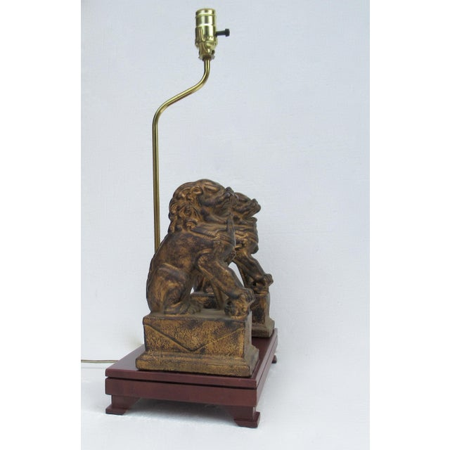 C.1970s-80s Vintage Asian, Chinoiserie-Style, Boho Chic Gilt Foo Dog Lamp For Sale In West Palm - Image 6 of 13