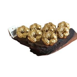 Vintage Gump's Stamped Metal Matte Gold Vegetables Napkin Holders 16 For Sale