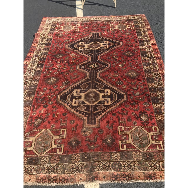 "Vintage Persian Shiraz Area Rug - 5'7""x8'1"" - Image 10 of 11"