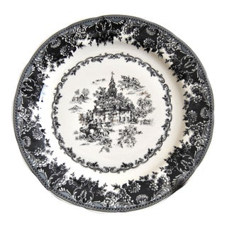 Toile Black Staffordshire Plate, Equestrian Trasferware Tabletop Platter For Sale