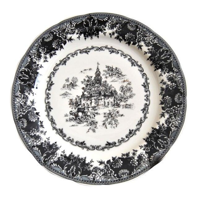 Toile Black Staffordshire Plate, Equestrian Trasferware Tabletop Platter For Sale