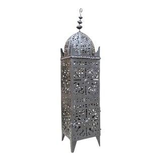 Large Vintage Metal Moroccan Hurricane Candle Lantern For Sale