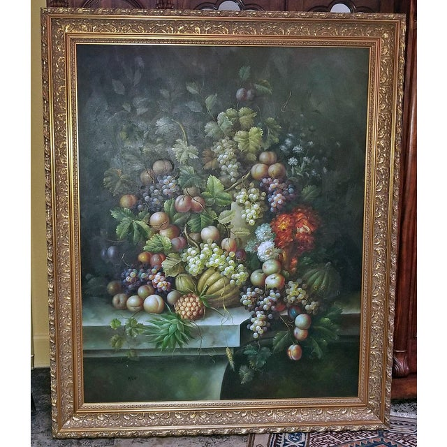 Renaissance Revival Fruit Still Life Oil Painting on Canvas by M. Picot For Sale - Image 3 of 9