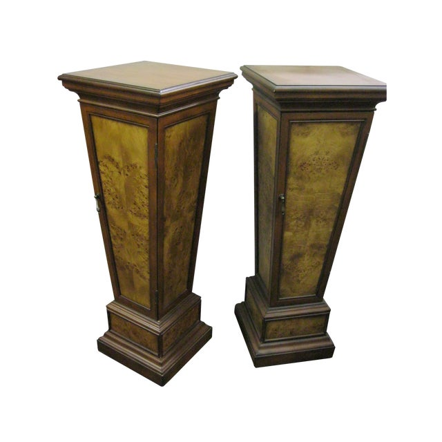 Brown Pedestal Storage Cabinets- A Pair - Image 1 of 10