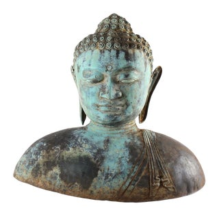 """Antique 18"""" High Bronze Buddha Bust For Sale"""
