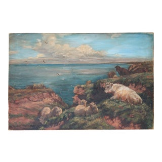 Antique Landscape Painting With Cattle and Sheep For Sale