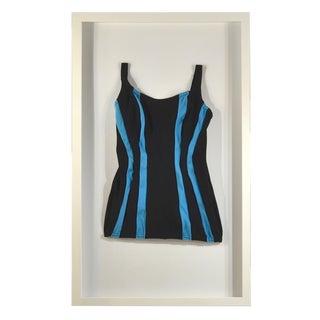 Framed Vintage Black & Blue Striped Swim Suit