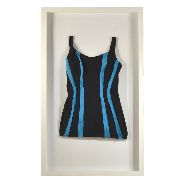 Framed Vintage Black & Blue Striped Swim Suit - Image 1 of 4