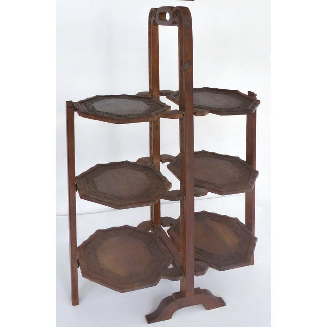 Brown 1900s Country Carved Wood Folding Serving Stand For Sale - Image 8 of 8