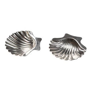 Vintage Sterling Scallop Shell Nut Dish or Salt Cellars- a Pair For Sale