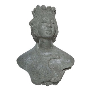 Carved Riverstone Bust of a Sea Princess For Sale