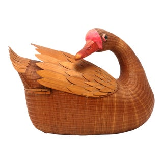 Vintage Wicker Duck Biscuit Basket