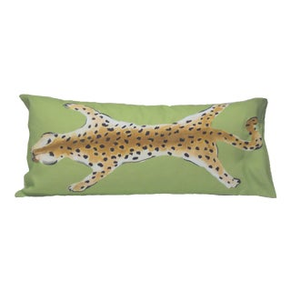 Green Leopard Lumbar Pillow For Sale